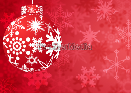 christmas red ornament with snowflakes pattern