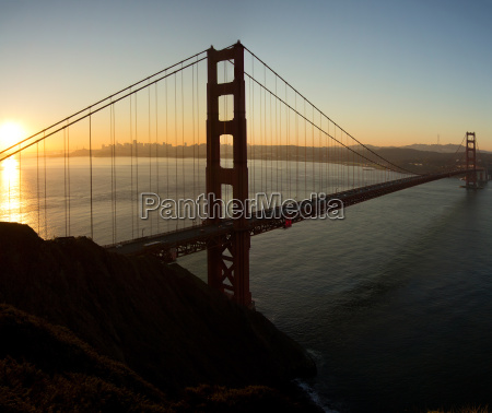 sunrise over golden gate bridge and