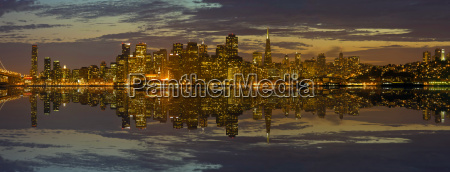 san francisco skyline at sunset panorama