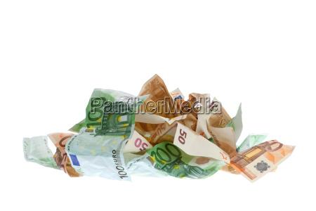 zusammengeknuellte eurobanknoten
