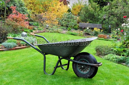 garden cart in autumnal garden