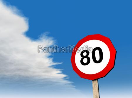 traffic sign permitted maximum speed 80