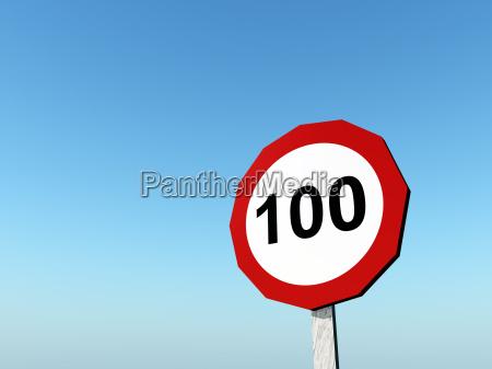 traffic sign permitted maximum speed 100