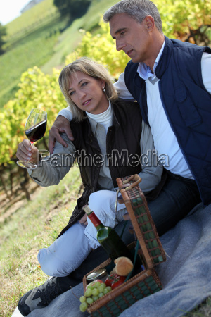 couple having picnic in the vineyard
