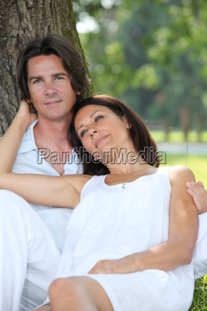 romantic couple in the park