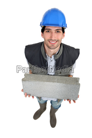 builder with a block in his