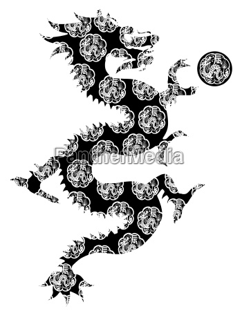 chinese dragon archaic motif black and