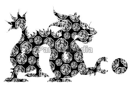 chinese dragon sitting archaic motif black