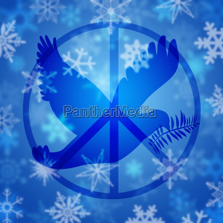 peace dove symbol and snowflakes