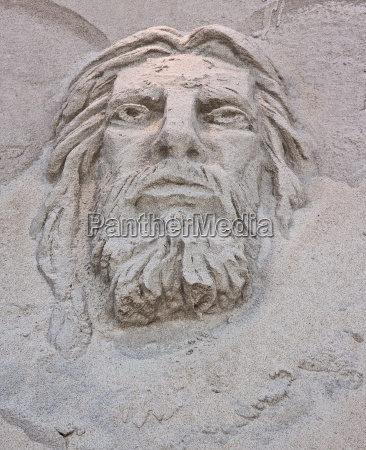 face of jesus sand sculpture