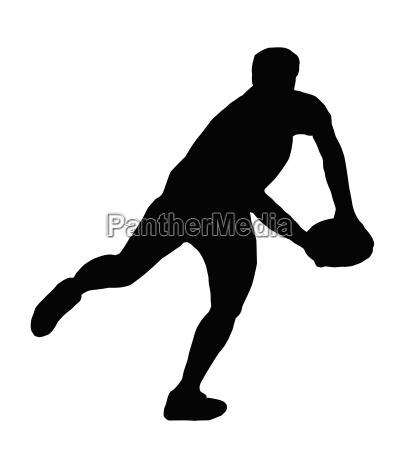 sport silhouette rugby player making