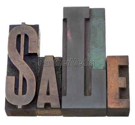 sale word in letterpress type