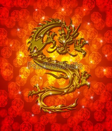 golden metallic chinese dragon on red