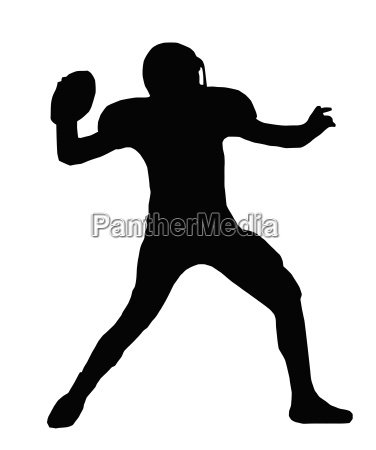 silhouette american football quarterback throw