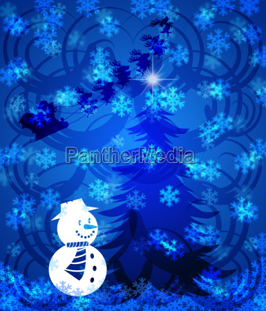 abstract christmas tree snowman on blue