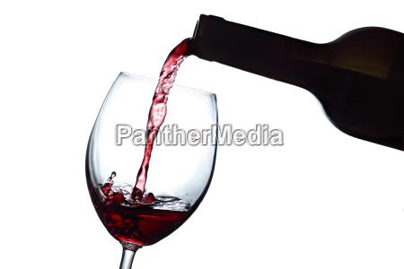 rotwein weinflasche weinglas rose