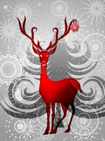 reindeer with red ornament on silver