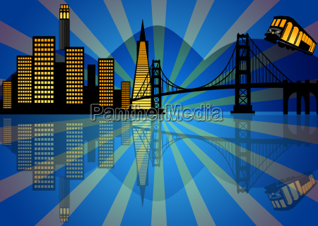 reflection of san francisco skyline at