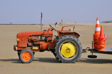tractor on a beach of normandy