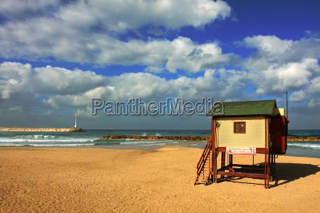 view on public beach on mediterranean