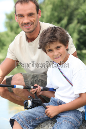 father and son on a fishing