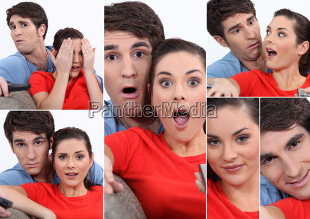 collage of couple watching tv
