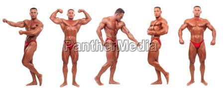 maennlicher bodybuilder demonstriert fuenf posen