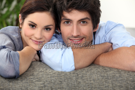 young couple on a sofa