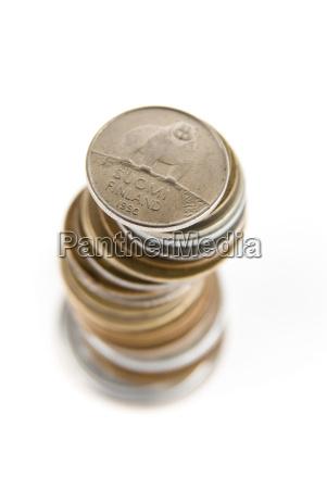 finnland penni muenzen stapel
