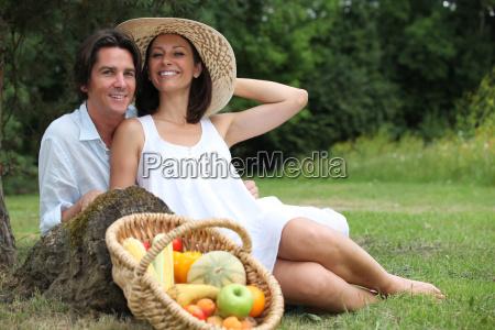 a cute couple having a vegetarian