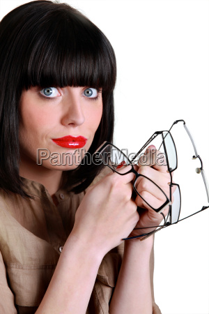 attractive woman with many pairs of