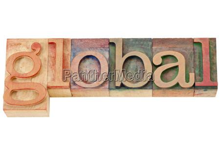 global word in letterpress type