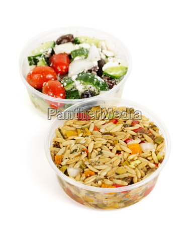 prepared salads in takeout containers