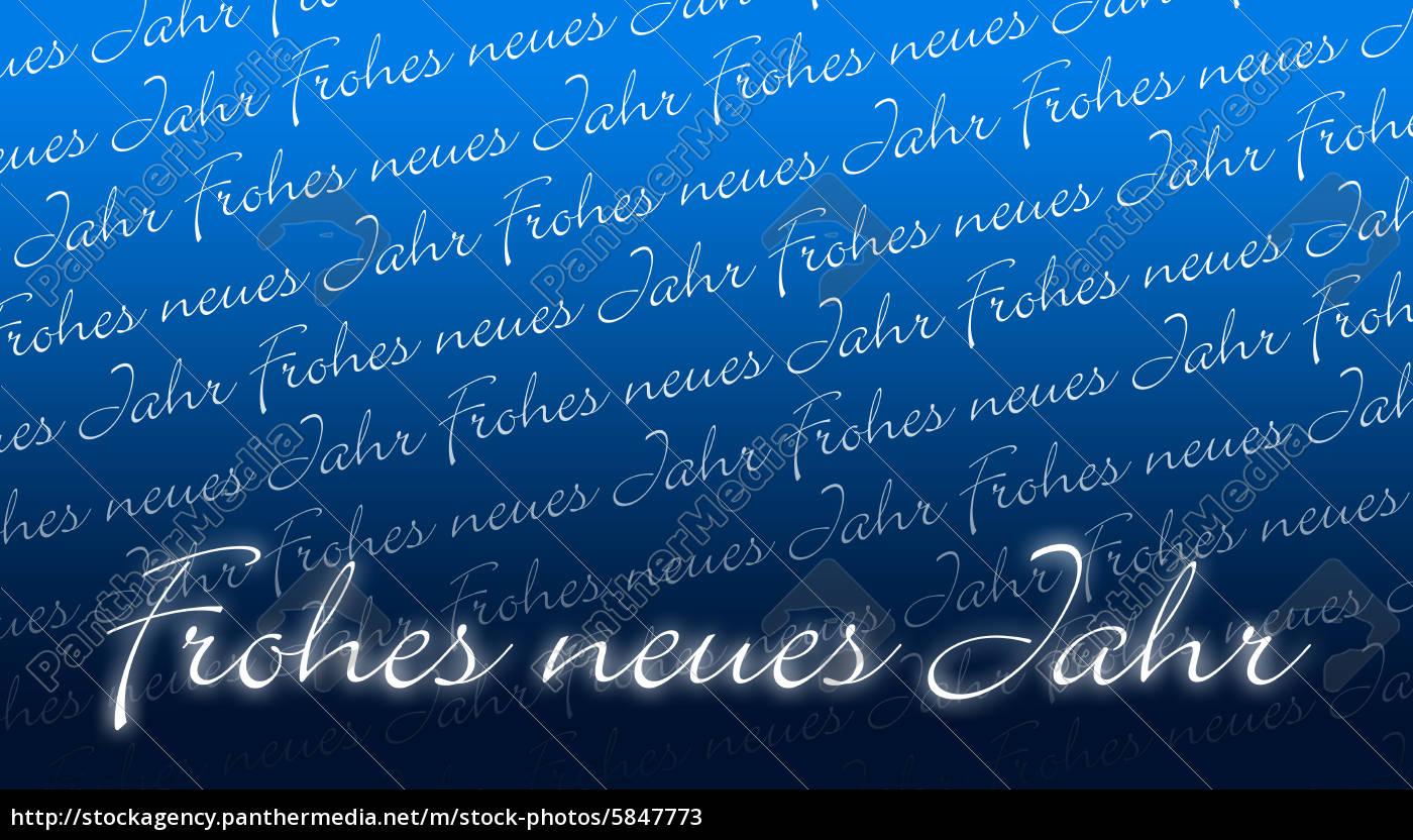 Silvesterkarte - Frohes neues Jahr - blau - Lizenzfreies Bild ...