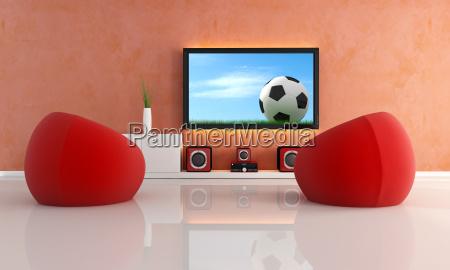 warten auf fussballspiel in einem modernen