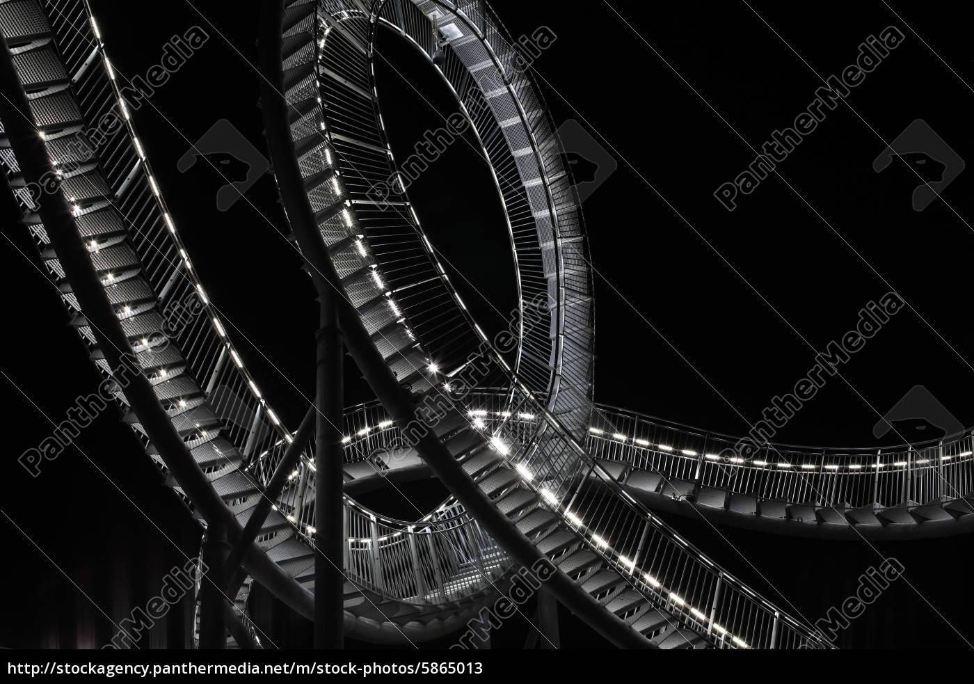 achterbahn, skulptur, bei, nacht - 5865013