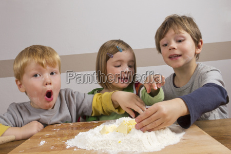 children who knead dough fun