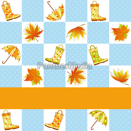 colorful autumn rain seamless pattern