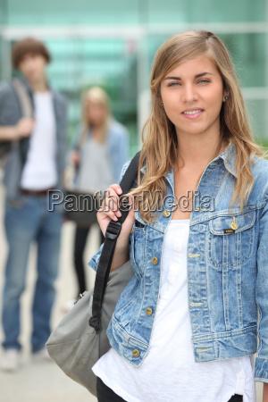 portrait of female student in denim