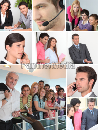 collage showing office workers