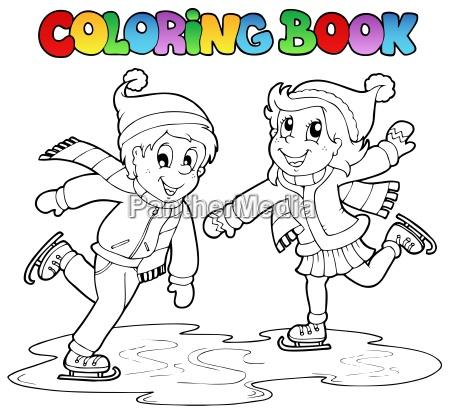 malbuch skating jungen und maedchen