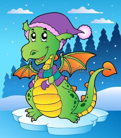 winter scene with cute dragon