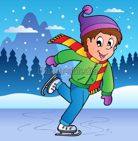 winter scene with skating boy