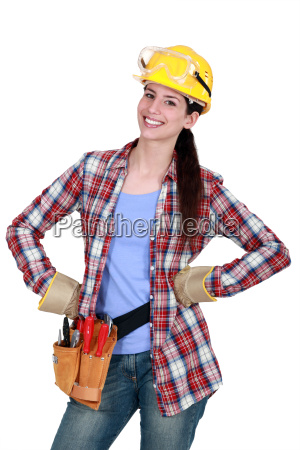 happy female woodworker