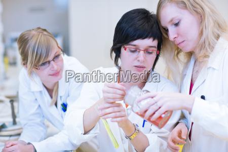 drei forscherinnen forschen in einem labor