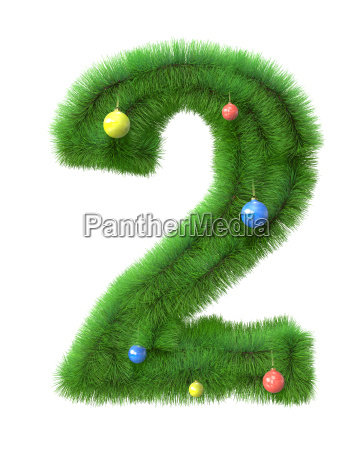2 number made of christmas tree