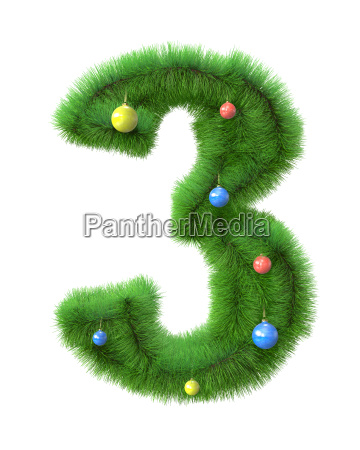 3 number made of christmas tree