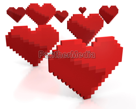 few red hearts made of cubic