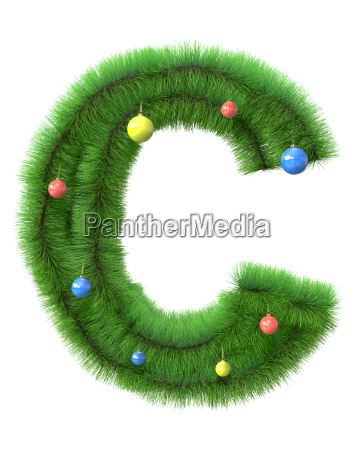 c letter made of christmas tree