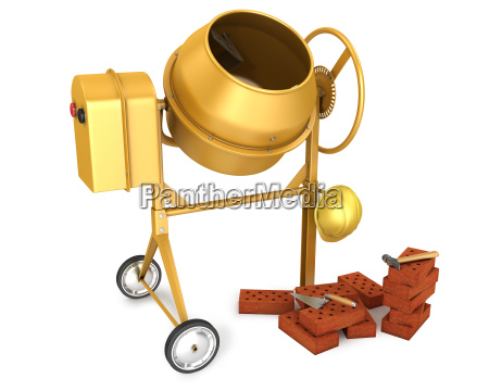 clean new yellow concrete mixer with